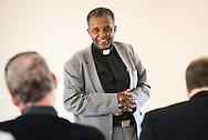 The Rev. Dr. Berhanu Ofgaa, general secretary of the Ethiopian Evangelical Church Mekane Yesus, opens a discussion on seminary partnership at the Mekane Yesus Seminary in Addis Ababa, Ethiopia, on Tuesday, Nov. 11, 2014. LCMS Communications/Erik M. Lunsford