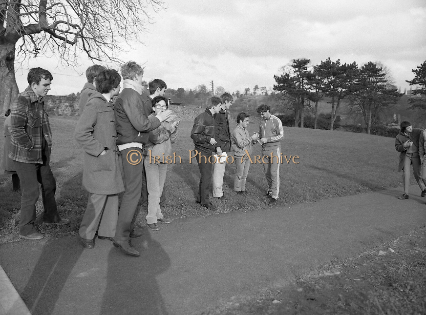 Ireland Soccer Team Training.1983.14.11.1983.11.14.1983.14th November 1983..The Ireland Soccer team trained, for the forthcoming match against Malta, at Stewarts Hospital,Palmerstown Dublin..Photo of fans waiting the arrival of the players as they return from training.
