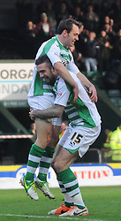 Yeovil Town's James Hayter celebrates his opening goal with Yeovil Town's Shane Duffy. - Photo mandatory by-line: Harry Trump/JMP - Tel: Mobile: 07966 386802 04/01/2014 - SPORT - FOOTBALL - Yeovil - Huish Park - Yeovil Town v Leyton Orient - FA Cup - Third Round