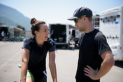 Dani King talks bike set up before Stage 8 of the Giro Rosa - a 141.8 km road race, between Baronissi and Centola fraz. Palinuro on July 7, 2017, in Salerno, Italy. (Photo by Sean Robinson/Velofocus.com)