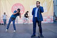 Roma, 18 Luglio 2014.<br /> Comizio di  Alexis Tsipras candidato de L'Altra Europa alla presidenza della Commissione EU e leader Syriza, a Piazza Farnese.<br /> Rome, July 18, 2014. <br /> Rally Alexis Tsipras candidate for the presidency of The Other Europe EU Commission and SYRIZA leader, to  Piazza Farnese.
