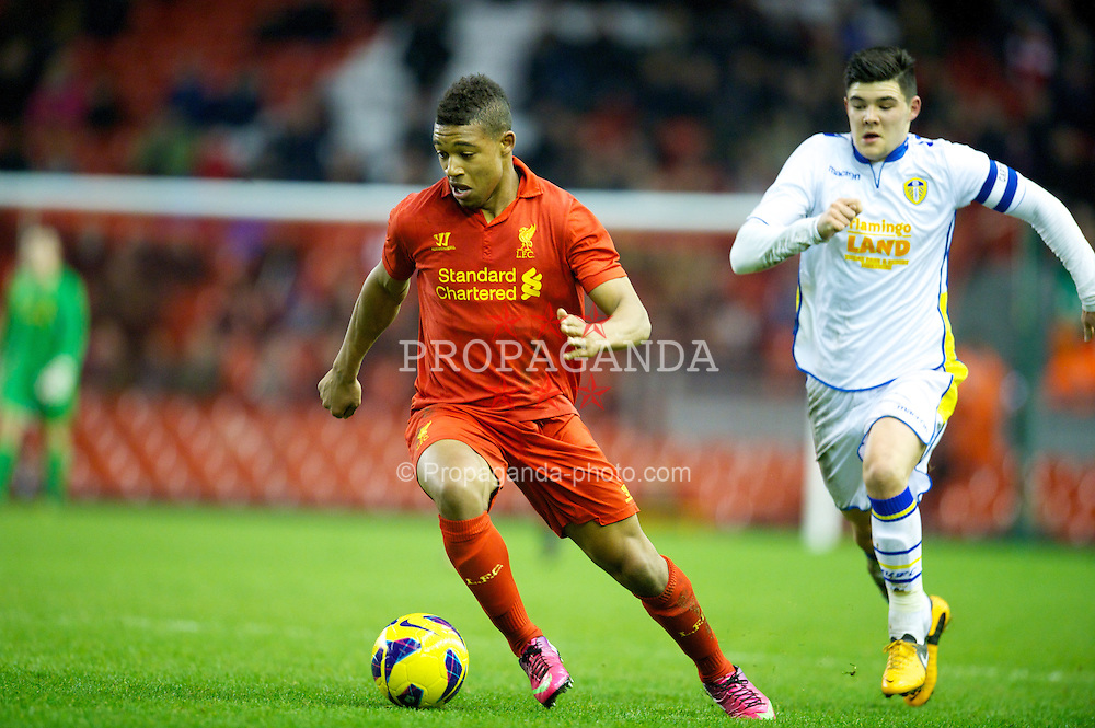 LIVERPOOL, ENGLAND - Thursday, February 28, 2013: Liverpool's Jordan Ibe in action against Leeds United during the FA Youth Cup 5th Round match at Anfield. (Pic by David Rawcliffe/Propaganda)