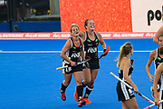 Charlotte Stapenhorst (red hair band) of Germany (12) scores a goal (3-1) and celebrates with team mate Lisa Altenburg of Germany(18) during the Vitality Hockey Women's World Cup 2018 Pool C match between Germany and Argentina at the Lee Valley Hockey and Tennis Centre, QE Olympic Park, United Kingdom on 25 July 2018. Picture by Martin Cole.