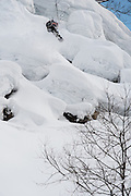 Lucas Debari, frontside 360 off a pillow in the Hakuba, Japan backcountry.