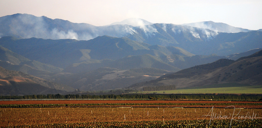 The massive wildfires of 2008 seen from Salinas valley, burning down the mountains of Los Padres