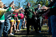 WACO, TX - OCTOBER 19: Lache Seastrunk #25 of the Baylor Bears interacts with fans before kickoff against the Iowa State Cyclones on October 19, 2013 at Floyd Casey Stadium in Waco, Texas.  (Photo by Cooper Neill/Getty Images) *** Local Caption *** Lache Seastrunk