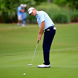 Apr 28, 2016; Avondale, LA, USA; Steve Stricker putts on the 17th hole during the first round of the 2016 Zurich Classic of New Orleans at TPC Louisiana. Mandatory Credit: Derick E. Hingle-USA TODAY Sports