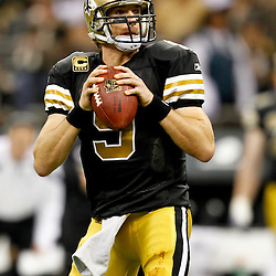November 6, 2011; New Orleans, LA, USA; New Orleans Saints quarterback Drew Brees (9) against the Tampa Bay Buccaneers during the second quarter of a game at the Mercedes-Benz Superdome. Mandatory Credit: Derick E. Hingle-US PRESSWIRE