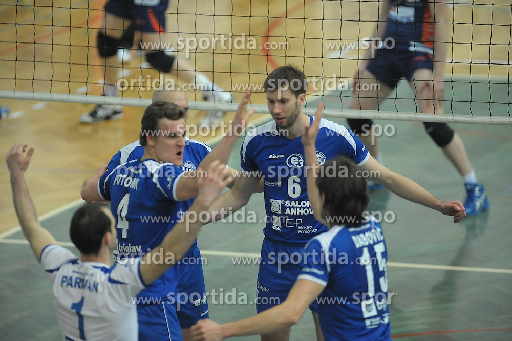 Potocnik and Kaminski of Salonit Anhovo at 1st match of finals of 1st DOL men volleyball league between OK Salonit Anhovo and OK ACH Volley, ACH played in Sportna dvorana Kanal, on April 20, 2010, in Kanal, Slovenia. (Photo by foto-forma / Sportida)