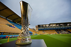 VILLRREAL, SPAIN - Thursday, April 28, 2016: The UEFA Cup [Europa League] trophy on display before the UEFA Europa League Semi-Final 1st Leg match between Liverpool and Villarreal CF at Estadio El Madrigal. (Pic by David Rawcliffe/Propaganda)