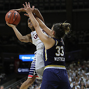 Moriah Jefferson, UConn, is fouled by Kathryn Westbeld, Notre Dame, during the Notre Dame Vs UConn Women's Basketball game at Grampel Pavilion, Storrs, Connecticut, USA. 5th December 2015. Photo Tim Clayton