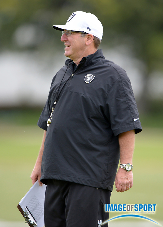 May 28, 2013; Alameda, CA, USA; Oakland Raiders special teams coordinator Bobby April at organized team activities at the Raiders practice facility.