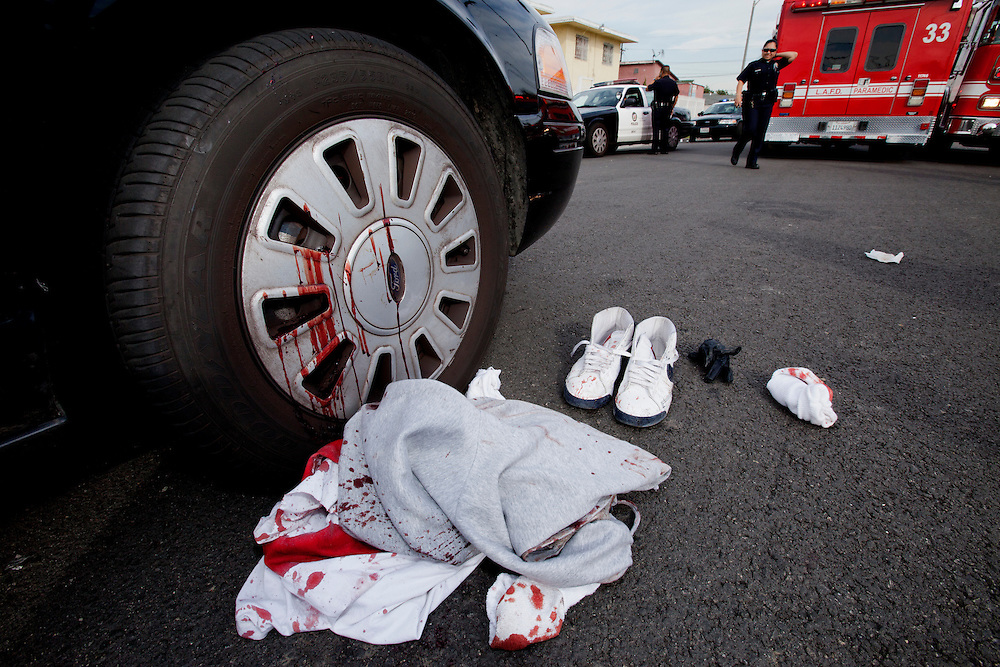 Blood covers a patrol car after weapons suspect Terry Griggs was taken into custody by Los Angeles police on Feb. 4, 2011. Los Angeles, Calif. (photo by Gabriel Romero ©2011)
