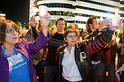 November 10, 2008 -- PHOENIX, AZ:  Women hold up candles during a gay rights vigil in Phoenix, AZ, Monday. About 250 people attended a candle light vigil in support of gay rights and gay marriage in Phoenix, AZ, Monday night. The rally, like similar ones in Los Angeles and Salt Lake City, were in response to anti-gay marriage and anti-gay rights initiatives that were passed by the voters in Arizona, California and Florida. The anti-gay initiatives in Arizona and California were funded by conservative churches, including the Church of Latter Day Saints (Mormons). Photo by Jack Kurtz / ZUMA Press