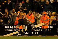 Fotball<br /> England 2004/2005<br /> Foto: SBI/Digitalsport<br /> 01.01.2005<br /> NORWAY ONLY<br /> <br /> Wolverhampton Wanderers v Plymouth Argyle<br /> <br /> Barclays Premiership<br /> <br /> Stewards remove an advertising board from the pitch which blew on in strong wind.