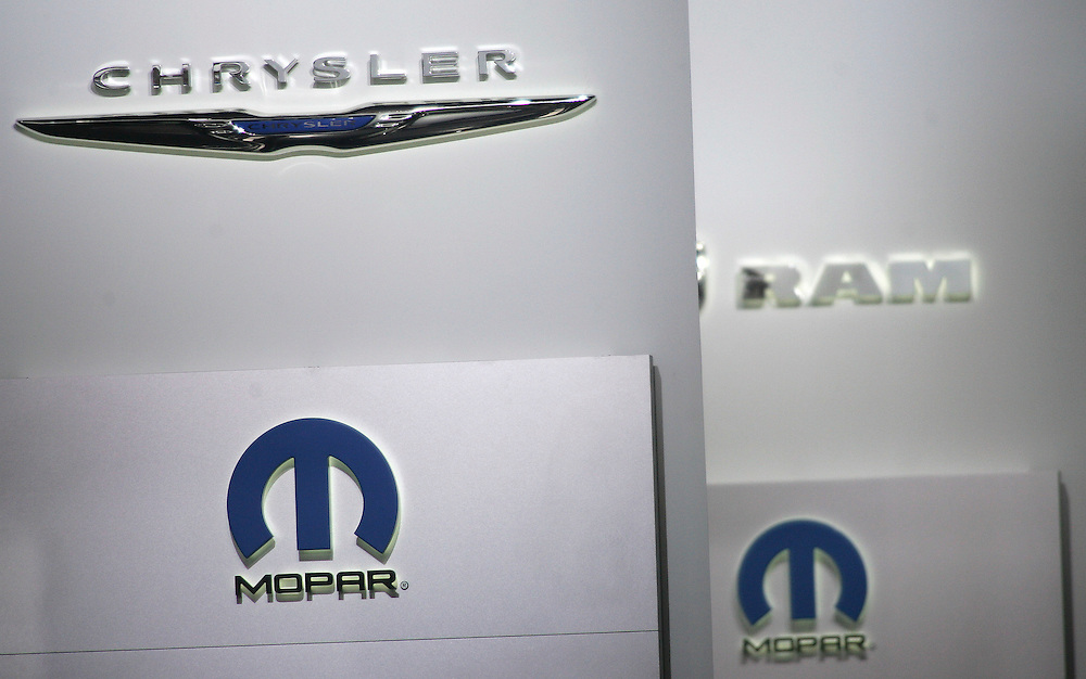 GR --- Detroit, Michigan ---11-01-10--- The Chrysler logo on display at the company's booth at the North American International Auto Show in Detroit, Michigan January 10, 2011.<br /> Geoff Robins AFP