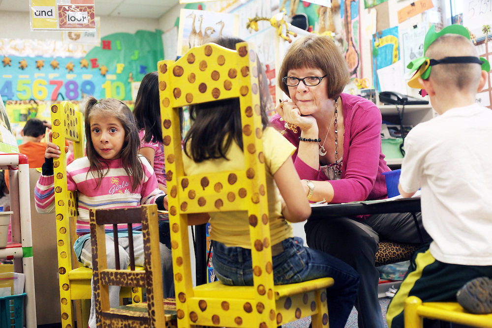 Diane Bonica, longtime kindergarten teacher at Deer Creek Elementary School in Tigard, works with this year's crop of children on Wednesday, May 23, 2012.