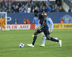 October 31, 2018 - New York, New York, United States - Derrick Jones (8) of Philadelphia Union & Alexander Ring (8) of NYCFC during knockout round game between NYCFC & Philadelphia Union at Yankees stadium NYCFC won 3 - 1  (Credit Image: © Lev Radin/Pacific Press via ZUMA Wire)