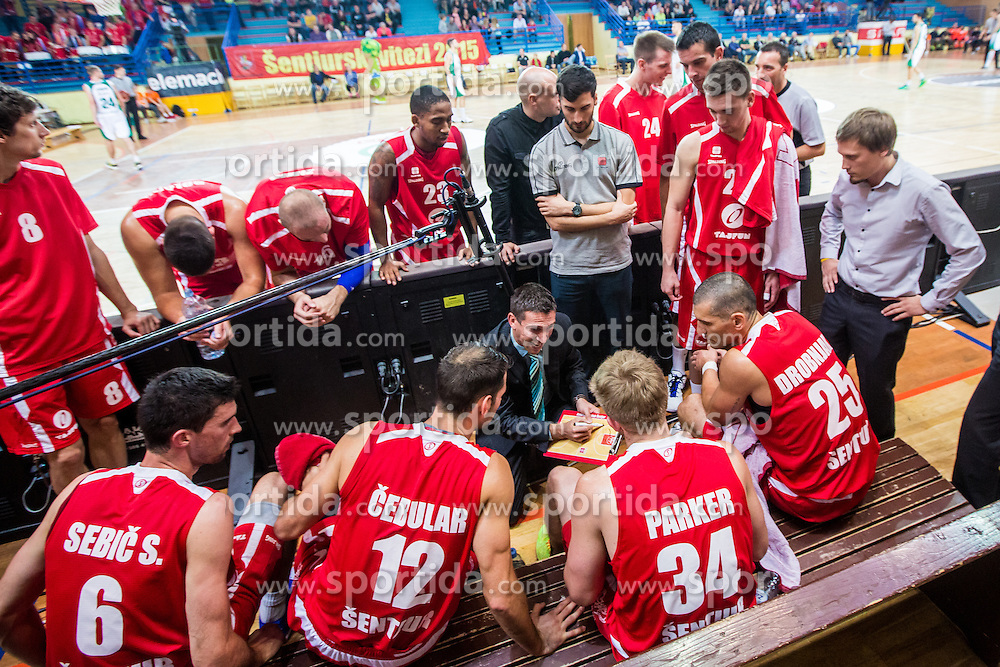 Dejan Mihevc and players of KK Tajfun Sentjur during basketball match between KK Krka Novo mesto and KK Tajfun Sentjur at Superpokal 2015, on September 26, 2015 in SKofja Loka, Poden Sports hall, Slovenia. Photo by Grega Valancic / Sportida.com