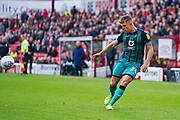 Swansea City defender Jake Bidwell (24) passes the ball during the EFL Sky Bet Championship match between Barnsley and Swansea City at Oakwell, Barnsley, England on 19 October 2019.
