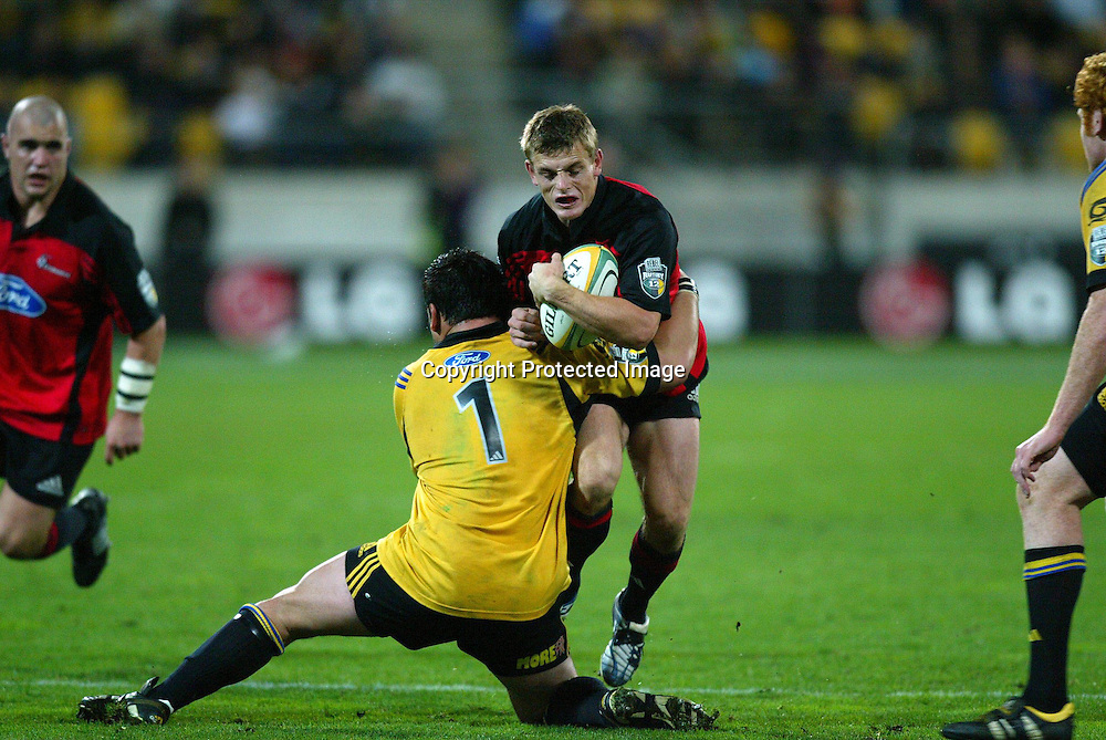 07 May 2004, Rugby Union. Super 12, Westpac Stadium, Wellington, New Zealand. <br /> Hurricanes vs Crusaders.<br /> Ben Blair.<br /> The Hurricane's won the match 37 - 20.<br /> Please Credit: Photosport