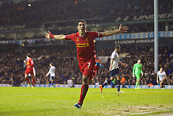 LONDON, ENGLAND - Sunday, December 15, 2013: Liverpool's Luis Suarez celebrates scoring the fourth goal against Tottenham Hotspur during the Premiership match at White Hart Lane. (Pic by David Rawcliffe/Propaganda)
