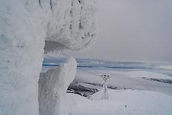 February 8, 2019 - Re, SWEDEN - 190208 General view of a broken and iced lift system during the FIS Alpine World Ski Championships on February 8, 2019 in re..Photo: Joel Marklund / BILDBYRN / kod JM / 87851 (Credit Image: © Joel Marklund/Bildbyran via ZUMA Press)