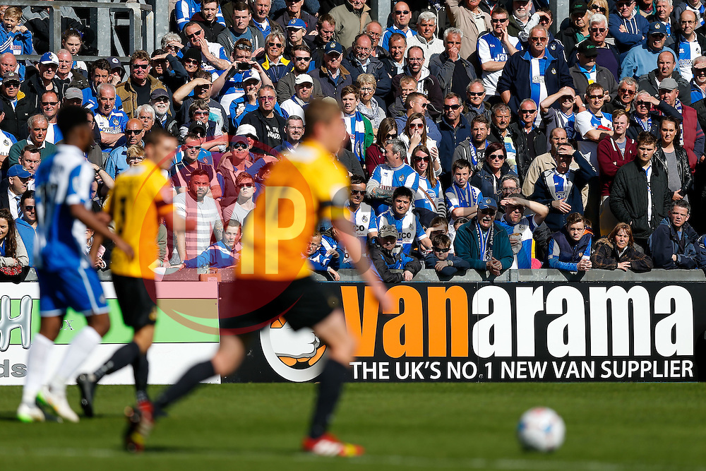 Vanarama branding as Bristol Rovers fans look on - Photo mandatory by-line: Rogan Thomson/JMP - 07966 386802 - 11/04/2015 - SPORT - FOOTBALL - Bristol, England - Memorial Stadium - Bristol Rovers v Southport - Vanarama Conference Premier.