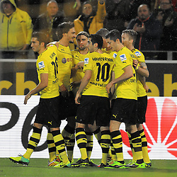 "01.11.2013, Signal Iduna Park, Dortmund, GER, 1. FBL, Borussia Dortmund vs VfB Stuttgart, 11. Runde, im Bild vl: Nuri Sahin #18 (Borussia Dortmund), Mats Hummels #15 (Borussia Dortmund), Marcel Schmelzer #29 (Borussia Dortmund), Henrikh ""Micki"" Mkhihtaryan #10 (Borussia Dortmund), Robert Lewandowski #9 (Borussia Dortmund), Torschuetze Marco Reus #11 (Borussia Dortmund) beim Torjubel nach dem Treffer zum 2:1, Emotion, Freude, Glueck, Positiv // during the German Bundesliga 11th round match between Borussia Dortmund and VfB Stuttgart at the Signal Iduna Park in Dortmund, Germany on 2013/11/02. EXPA Pictures © 2013, PhotoCredit: EXPA/ Eibner-Pressefoto/ Schueler<br /> <br /> *****ATTENTION - OUT of GER*****"