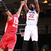 Delaware 87ers Forward EARL CLARK (22) attempts a jumps shot as Maine Red Claws Forward MALCOLM MILLER (13) defends in the first half of a NBA D-league regular season basketball game between the Delaware 87ers and the Maine Red Claws Friday, Feb. 19, 2016 at The Bob Carpenter Sports Convocation Center in Newark, DEL.