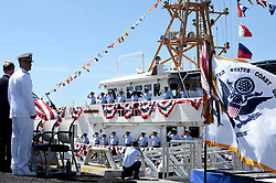 March 22, 2019 - San Pedro, California, U.S. - The crew on board signifies the ship is manned and brought to life,  during the commissioning ceremony for the USCGC Terrell Horne WPC 1131, the newest US Coast Guard cutter in San Pedro on Friday, March 22, 2019. (Credit Image: © Brittany Murray/SCNG via ZUMA Wire)