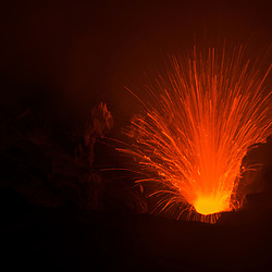 Yasur volcano erupts and spits fiercly hot magma for tens of meters into the air, Tannah, Vanuatu.