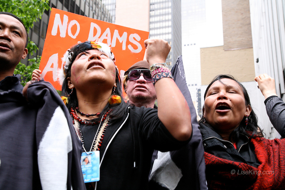 Protest organized by the Amazon Watch organization during the UN Permanent Forum on Indigenous Issues, Brazilian Mission to the UN, NYC, 2010.