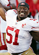 San Francisco 49ers inside linebacker Gerald Hodges (51) hams it up on the sideline during the 2016 NFL preseason football game against the San Diego Chargers on Thursday, Sept. 1, 2016 in San Diego. The 49ers won the game 31-21. (©Paul Anthony Spinelli)