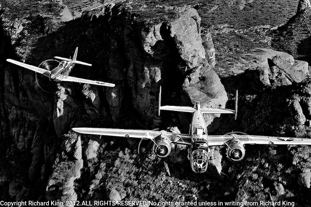 B-25 Mitchell Bomber and P-51 Mustang Fighter in black and white photographic fine art print