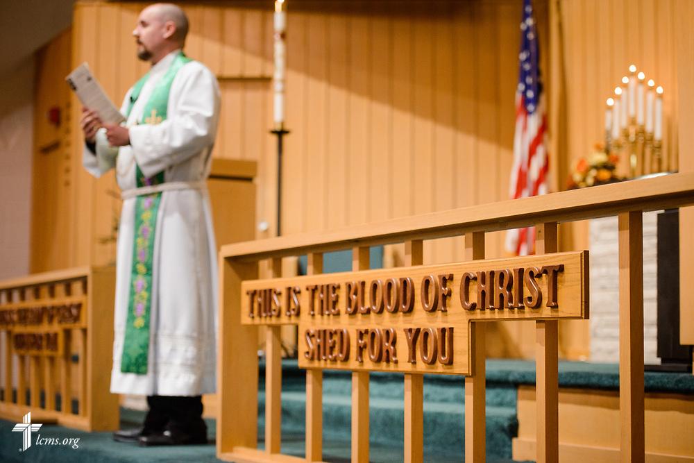 The Rev. Dr. Heath Trampe leads worship on Sunday, Sept. 24, 2017, at Faith Lutheran Church, York, Neb. LCMS Communications/Erik M. Lunsford