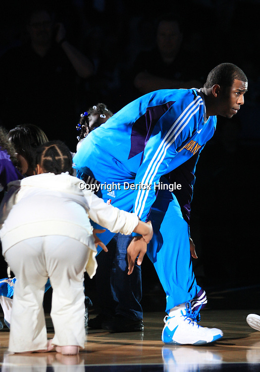 11 February 2009: New Orleans Hornets guard Chris Paul during introductions prior to a NBA game between the Boston Celtics and the New Orleans Hornets at the New Orleans Arena in New Orleans, LA.