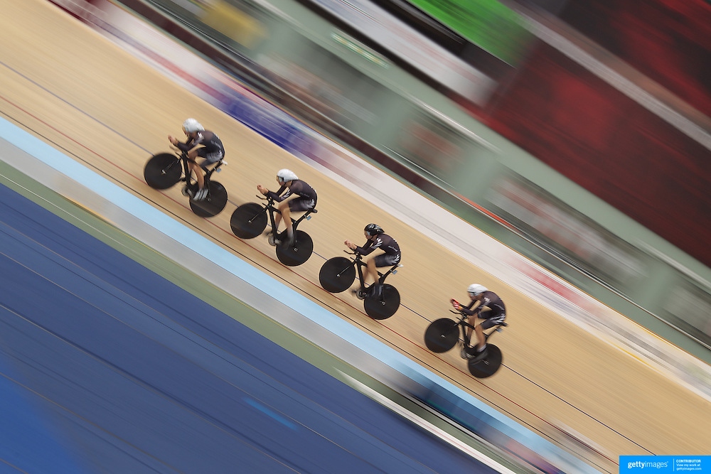 Aaron Gate, Sam Bewley, Marc Ryan and Jesse Sergent, New Zealand, in action during the Men's 4000 Team Pursuit at the 2012 Oceania WHK Track Cycling Championships, Invercargill, New Zealand. 21st November  2011. Photo Tim Clayton...