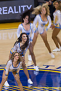 The Golden State Warriors cheerleaders perform during a timeout against the Houston Rockets at Oracle Arena in Oakland, Calif., on March 31, 2017. (Stan Olszewski/Special to S.F. Examiner)