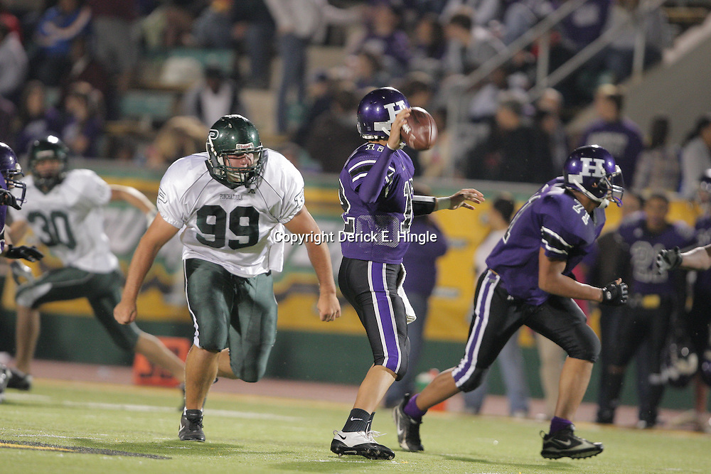 07 November 2008:  Ponchatoula Green Wave DL Jonathan Kichen (#99) The Ponchatoula Green Wave defeated District 7-5A rival the Hammond Tornados 34-13 at Strawberry Stadium in Hammond, LA . The Green Wave with the win clinched a spot in the 2008 playoffs.