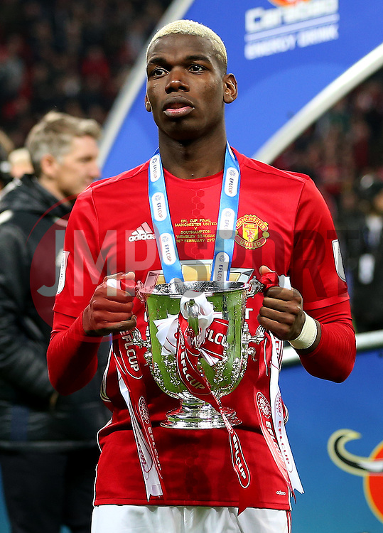 Paul Pogba of Manchester United poses with the EFL Trophy - Mandatory by-line: Matt McNulty/JMP - 26/02/2017 - FOOTBALL - Wembley Stadium - London, England - Manchester United v Southampton - EFL Cup Final