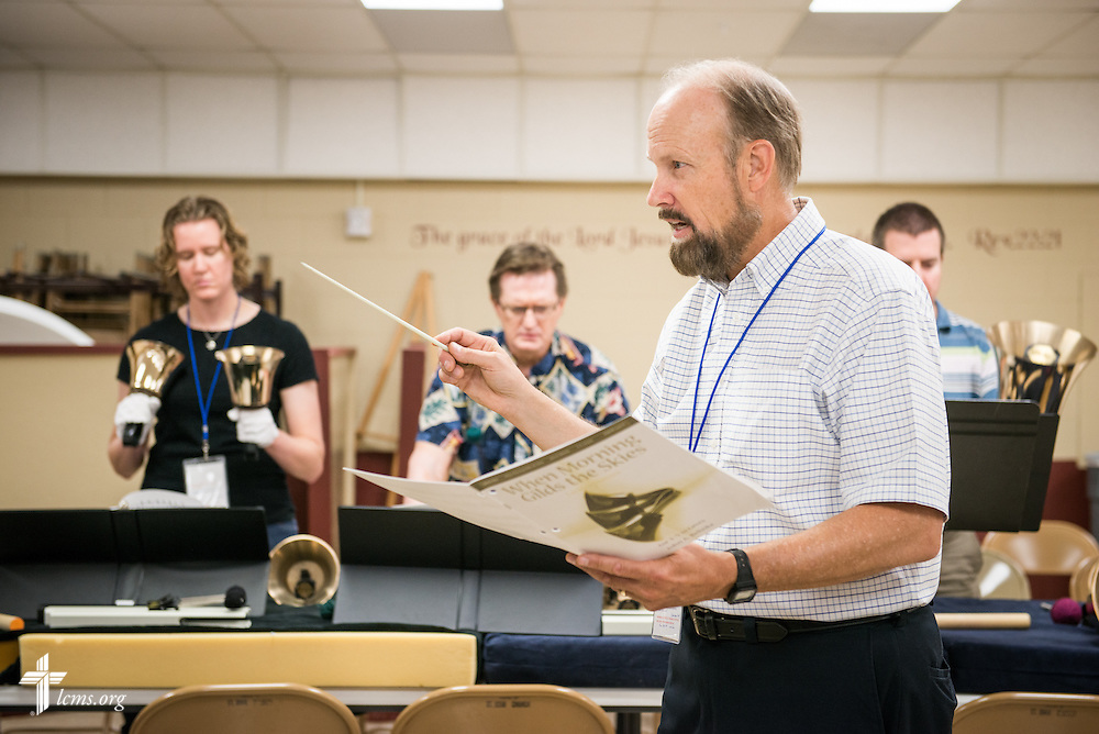 Dr. John Behnke, professor of music at Concordia University Wisconsin in Mequon, Wis., leads a handbell workshop during the 2014 Institute on Liturgy, Preaching and Church Music on Monday, July 28, 2014, at Concordia University, Nebraska, in Seward, Neb. LCMS Communications/Erik M. Lunsford