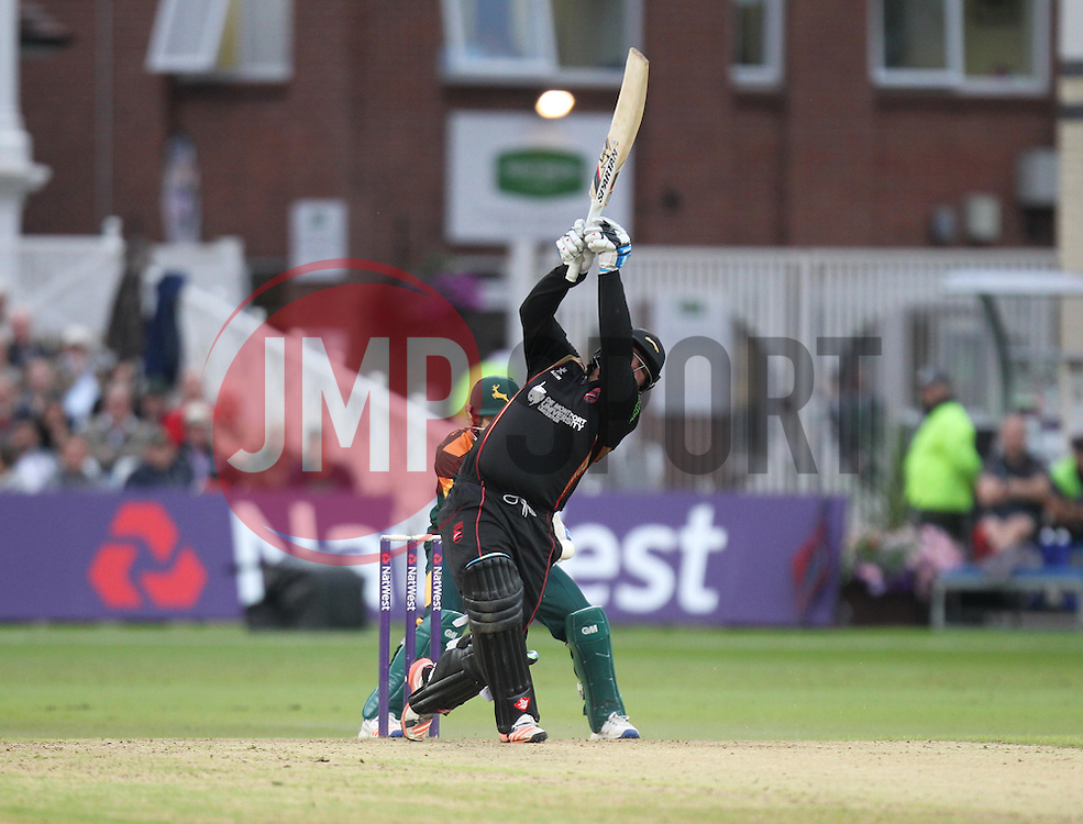 Mark Cosgrove of Leicestershire Foxes is stumped out by Chris Read of Notts Outlaws (L) off the bowling of Imran Tahir - Mandatory by-line: Jack Phillips/JMP - 29/07/2016 - CRICKET - Trent Bridge - Nottingham, United Kingdom - Nottingham Outlaws v Leicester Foxes - Natwest T20 Blast