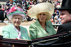 Left to right, HM THE QUEEN and the DUCHESS OF CORNWALL at the 2nd day of the 2013 Royal Ascot Horseracing festival at Ascot Racecourse, Ascot, Berkshire on 19th June 2013.