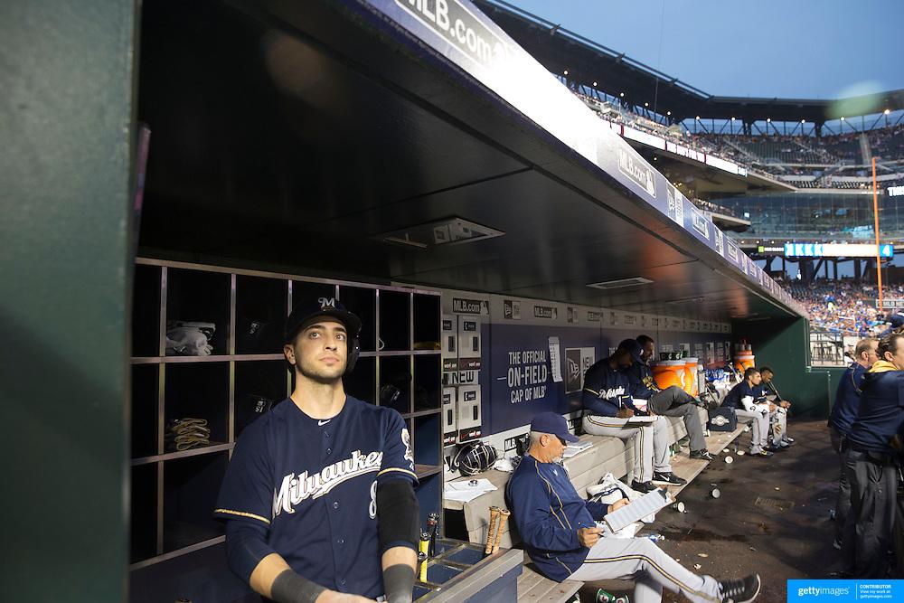 Ryan Braun, Milwaukee Brewers,  during the New York Mets Vs Milwaukee Brewers, MLB regular season baseball game at Citi Field, Queens, New York. USA. 16th May 2015. Photo Tim Clayton