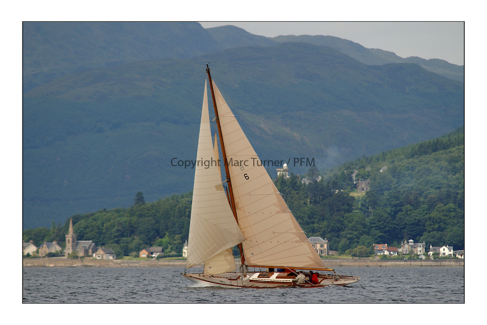 Mikado beating upwind off Strone on the third race to Rothesay from Helensburgh...This the largest gathering of classic yachts designed by William Fife returned to their birth place on the Clyde to participate in the 2nd Fife Regatta. 22 Yachts from around the world participated in the event which honoured the skills of Yacht Designer Wm Fife, and his yard in Fairlie, Scotland...FAO Picture Desk..Marc Turner / PFM Pictures