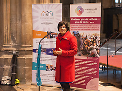 "© Licensed to London News Pictures. 10/12/2016. Bristol, UK. THANGAM DEBBONAIRE, Labour MP for Bristol West, speaks in Bristol Cathedral as Bristol is asked to Embrace Diversity on International Human Rights Day, welcoming humanity and diversity and building stronger communities to resist racism in Bristol as the focus of key events commemorating International Human Rights Day on Saturday 10th December 2016. There was a Sanctuary Walk from the Malcolm X Community Centre in St Pauls, headed by representatives of all Bristol's civic leaders, through the city centre to Bristol Cathedral. The two part event was organised by Bristol City of Sanctuary and local charity Bristol Refugee Rights. Revd Richard McKay, Chair of Bristol City of Sanctuary says, ""This walk will send out a clear message that Bristol is a City of Sanctuary and that we welcome refugees and asylum seekers in our beautiful city. We are walking to show welcome to those seeking sanctuary in our city. We are walking to join with other proud Bristolians to say that we are a city of diversity that treasures human rights."" Photo credit : Simon Chapman/LNP"