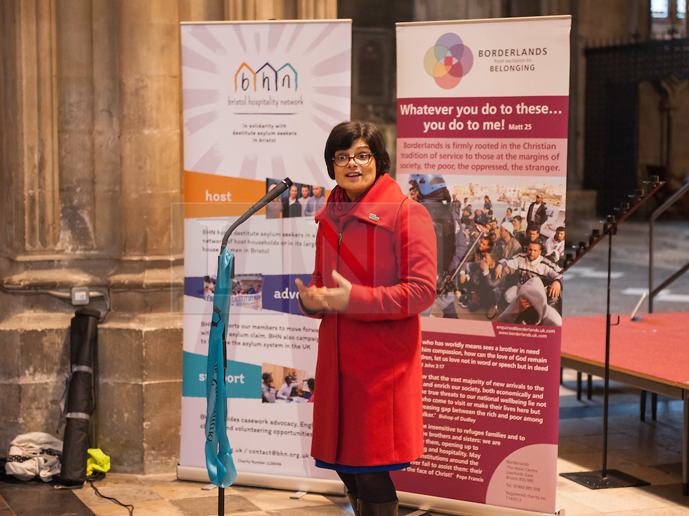 """© Licensed to London News Pictures. 10/12/2016. Bristol, UK. THANGAM DEBBONAIRE, Labour MP for Bristol West, speaks in Bristol Cathedral as Bristol is asked to Embrace Diversity on International Human Rights Day, welcoming humanity and diversity and building stronger communities to resist racism in Bristol as the focus of key events commemorating International Human Rights Day on Saturday 10th December 2016. There was a Sanctuary Walk from the Malcolm X Community Centre in St Pauls, headed by representatives of all Bristol's civic leaders, through the city centre to Bristol Cathedral. The two part event was organised by Bristol City of Sanctuary and local charity Bristol Refugee Rights. Revd Richard McKay, Chair of Bristol City of Sanctuary says, """"This walk will send out a clear message that Bristol is a City of Sanctuary and that we welcome refugees and asylum seekers in our beautiful city. We are walking to show welcome to those seeking sanctuary in our city. We are walking to join with other proud Bristolians to say that we are a city of diversity that treasures human rights."""" Photo credit : Simon Chapman/LNP"""