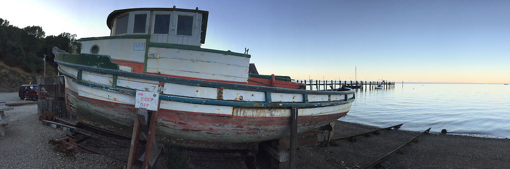 Dilapidated Fishing Boat, Village, China Camp State Park, San Rafael, California, US