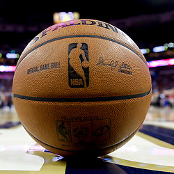 Oct 23, 2013; New Orleans, LA, USA; A NBA basketball on the court during a timeout for a preseason game between the New Orleans Pelicans and the Miami Heat at New Orleans Arena. The Heat defeated the Pelicans 108-95. Mandatory Credit: Derick E. Hingle-USA TODAY Sports